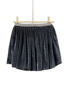 Jupe en velours à paillettes argenté, ceinture en lurex argenté KABOJUP1 / 20W901N1JUPJ916
