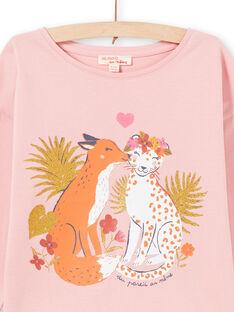 T-shirt manches longues rose à motifs renard et léopard enfant fille MASAUTEE3 / 21W901P3TML303