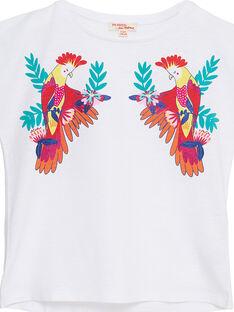 T-shirt manche courtes blanc imprimé perroquet  enfant fille JAMARTI1 / 20S901P2TMC000