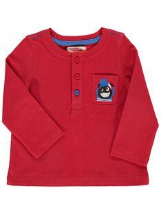 Tee-shirt manches longues rouge bébé garçon DUJOTUN1 / 18WG1031TMLF508