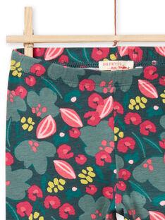 Legging vert et rose imprimé fleuri enfant fille MYAKALEG2 / 21WI01I2CALG604