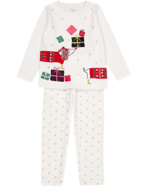 Pyjama écru Noël En Velours Enfant Fille Pyjama Enfant Dpam