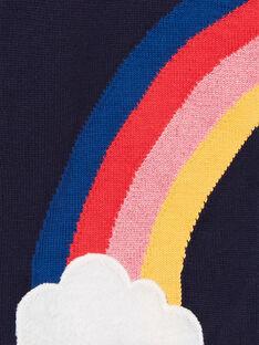 Cardigan bleu marine motif arc-en-ciel enfant fille LAHACAR / 21S901X1CAR070