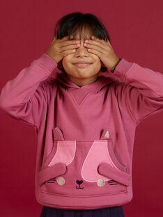 Sweat-shirt à capuche animation chat enfant fille MAFUNSWEA / 21W901M1SWEH700