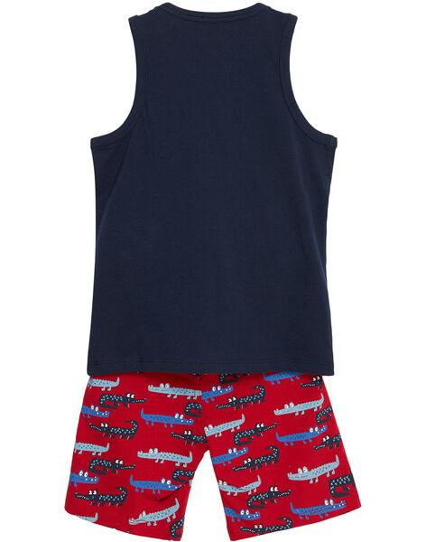 Ensemble de plage garçon débardeur marine et bermuda imprimé rouge crocodile JOPLAENS2 / 20S902X3ENS705