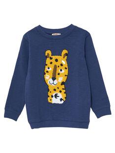 Sweat shirt garçon encolure ronde bleu panthere JOTROSWE / 20S902F1SWEC205