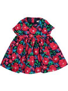 Robe manches courtes en velours bébé fille DITRIROB3 / 18WG09D2ROB099