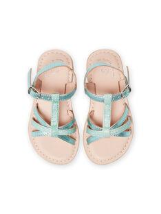 Sandales en cuir vert irisé avec brides à paillettes enfant fille LFSANDLOU / 21KK355CD0E600