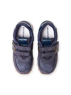 Baskets New Balance bleu marine et orange enfant garçon KGYV574PNY / 20XK3625D37070