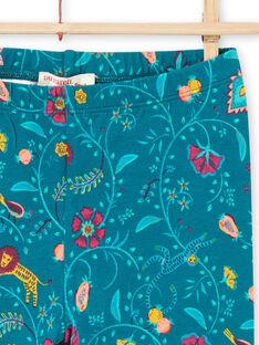 Legging bleu canard à imprimé fleuri enfant fille MYATULEG1 / 21WI01K1CAL714