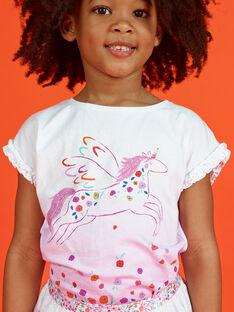 T-shirt manches courtes volanté, imprimé deep dyed et licorne LAVITI2 / 21S901U3TMC000
