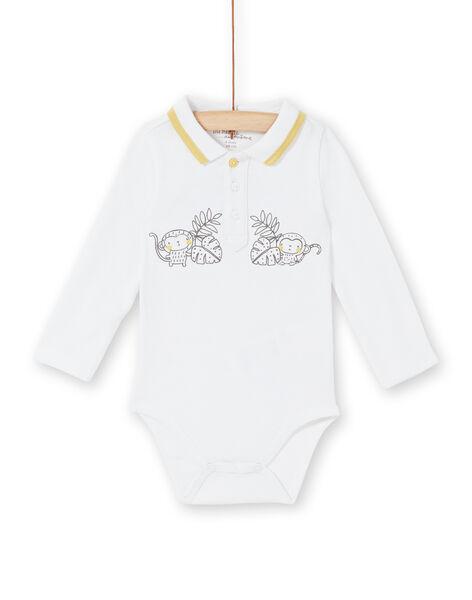 Body blanc à col polo naissance garçon LOU1BOD5 / 21SF04H1BOD000