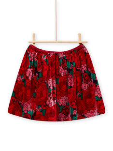 Jupe en velours à imprimé fleuri enfant fille MAFUNJUP2 / 21W901M3JUPH703