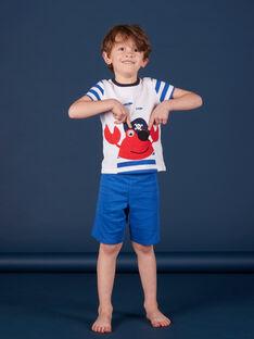 Pyjama court enfant garçon blanc et bleu JEGOPYCRAB / 20SH12U5PYJ000