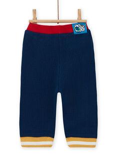 Pantalon bleu nuit détails contrastés bébé garçon MUMIXPAN1 / 21WG10J2PAN713