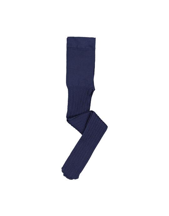 Collant fantaisie bleu marine fille FYAJOYCOL3 / 19SI01Y3COL703