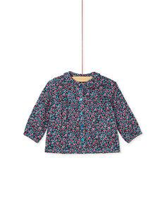 Blouse turquoise imprimé fleurs bébé fille KIBRIBLOU / 20WG09F1CHEC217