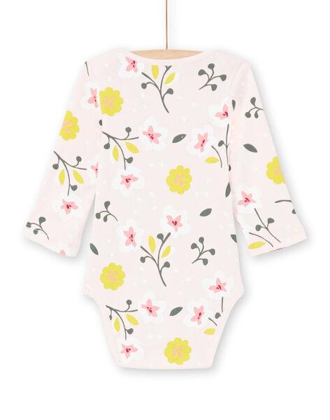 Body rose pâle et jaune imprimé fleuri bébé fille MEFIBODFLE / 21WH13B7BDL301