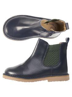 Boots en cuir marine avec bande élastique fantaisie verte. GGBOOTCHEB / 19WK36X5D0D070