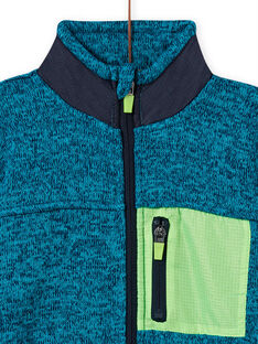 Gilet turquoise chiné à empiècements vert fluo et bleu marine enfant garçon MOJOGITEK1 / 21W90212GILC200