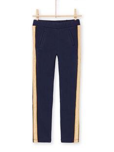 Pantalon bleu nuit à rayures enfant fille MAJOMIL1 / 21W90117PANC205