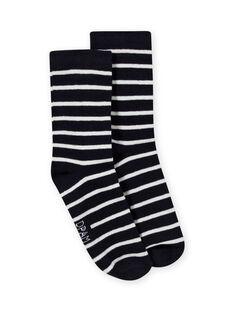 Chaussettes à rayures bleu marine et écrues enfant garçon MYOJOCHOR1 / 21WI0211SOQ001