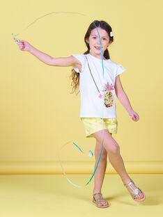T-shirt blanc à manches courtes ananas enfant fille LAJAUTI3