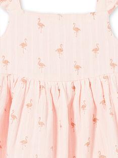 Robe en coton texturé et imprimé flamants roses à paillettes  LATEROB2 / 21S901V4ROBD322