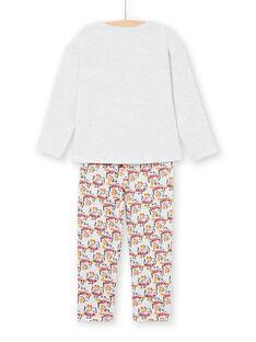 Pyjama T-shirt et pantalon gris chiné et jaune enfant fille LEFAPYJOWL / 21SH1152PYJJ920