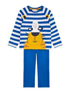 Pyjama en molleton bleu et écru enfant garçon JEGOPYJLION / 20SH1227PYJC238