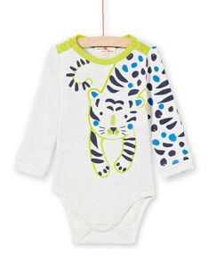 Body écru chiné motif tigre bébé garçon MUKABOD / 21WG10I1BOD006