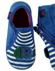 Chausson bottillon en velours bleu avec une animation éléphant sur le devant et un imprimé rayures blanches et bleues à l'arrière. Doublure et semelle intérieure en éponge pour un meilleur confort et plus de douceur. GBGBOTELE / 19WK38Z5D0A070