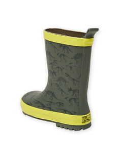 Bottes de pluie vert kaki imprimé dinosaure enfant garçon MOPLUIKAKI / 21XK3614D0C604
