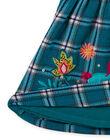 Robe turquoise à carreaux et motifs fantaisie bébé fille MITUROB3 / 21WG09K1ROBC217