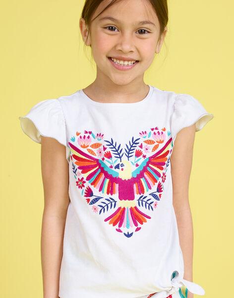 T-shirt à manches courtes blanc brodé enfant fille JAMARTI3 / 20S901P3TMC000
