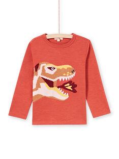 T-shirt orange motif T-rex enfant garçon MOPATEE1 / 21W902H3TMLE415