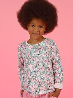 T-shirt réversible imprimé fleuri et rayures enfant fille MAKATEE1 / 21W901I4TML001