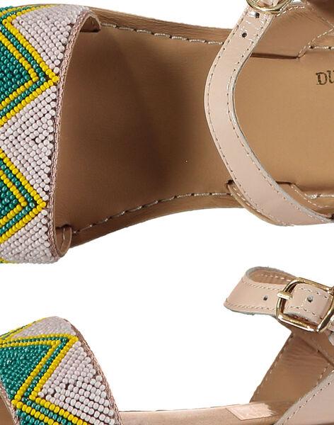 Sandale ville en cuir et perles fille FFSANDJU / 19SK35D4D0E301