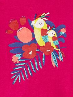 T-shirt manches courtes rose fuchsia motif perroquet bébé fille JIMARTI / 20SG09P1TMC310