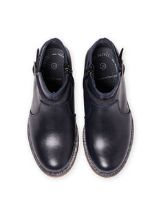 Boots bleu marine en cuir enfant fille MABOOTREP / 21XK3552D0D070