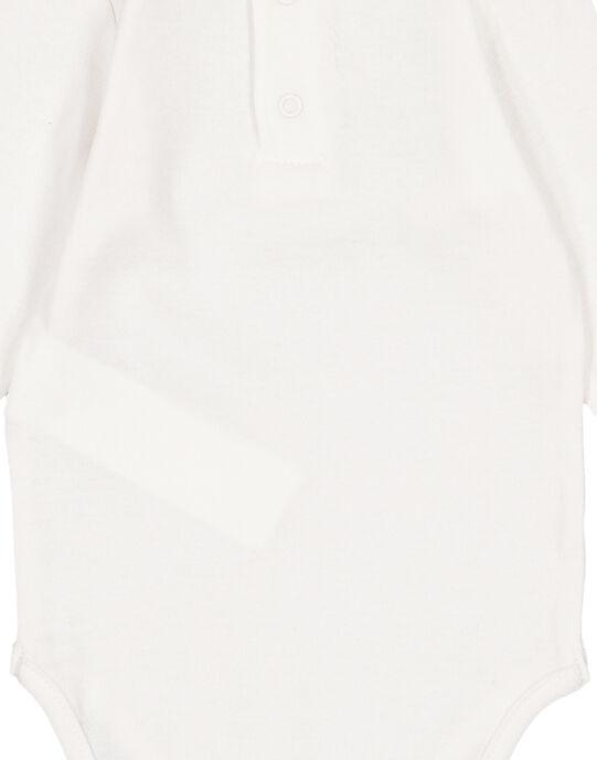 Body manches longues écru en rib layette fille GEFIBODZEB / 19WH13N1BDL001