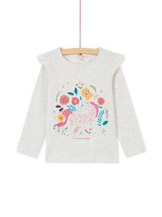 T-shirt à manches longues, volants sur les épaules et imprimé licorne KAGOTEE1 / 20W901L3TML006
