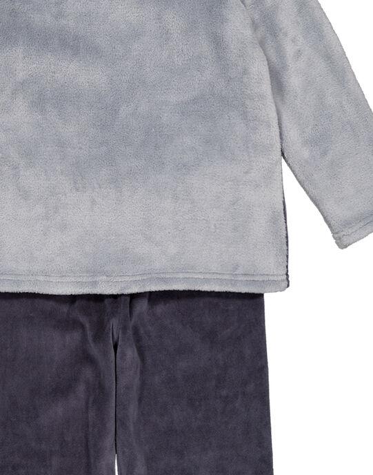 Pyjama gris en velours et soft boa enfant garçon GEGOPYJBOA2 / 19WH12N4PYJJ923