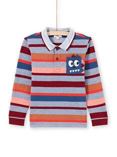 Polo manches longues à rayures colorées enfant garçon MOPAPOL / 21W902H1POL219