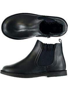 Boots en cuir lisse marine réhaussée par une bande élastique fantaisie.  GFBOOTCHE / 19WK35IAD0D070