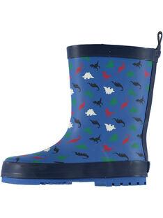 Botte de pluie en caoutchouc bleu avec un imprimé dinosaure changeant de couleur au contact de l'eau. Tire botte à l'arrière pour faciliter l'enfilage. Semelle extérieure en caoutchouc exclusif DP…am au dessin ludique. GGBPDINO / 19WK36G1D0CC218