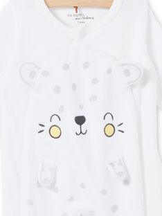 Grenouillère léopard blanche en velours dévoré naissance mixte LOU1GRE5 / 21SF05H2GRE000