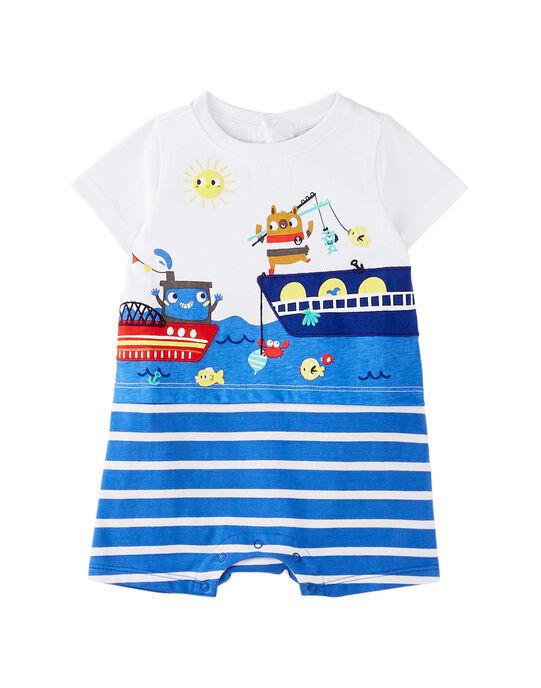 Grenouillère courte bébé garçon blanche et bleue  JEGAGREMER / 20SH14U4GRE000