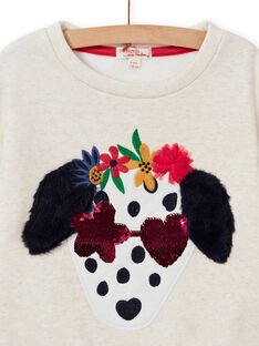 Sweatshirt à motif chien fantaisie et sequins réversibles enfant fille MAMIXSWEA / 21W901J1SWE006