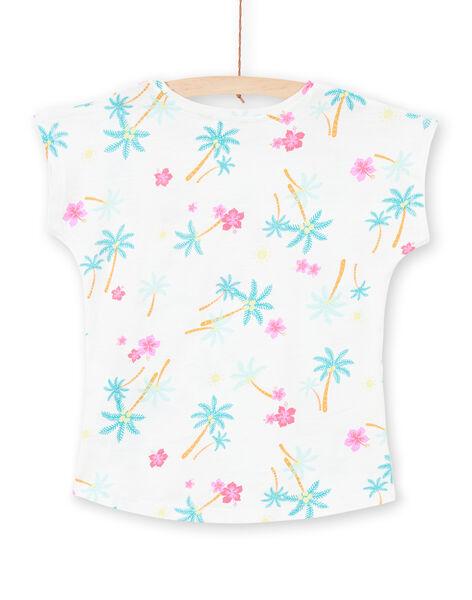 T-shirt blanc et bleu imprimé palmiers et fleurs enfant fille LAJOTI7 / 21S901F1D31001